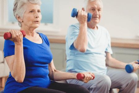 seniors doing balance exercises