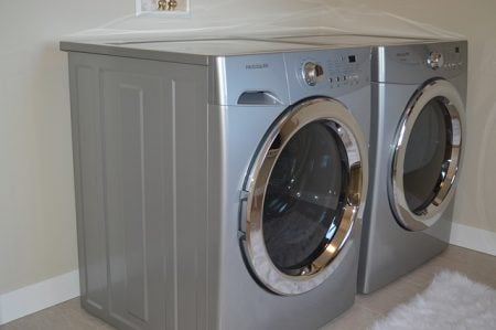 washer and dryer in laundry room